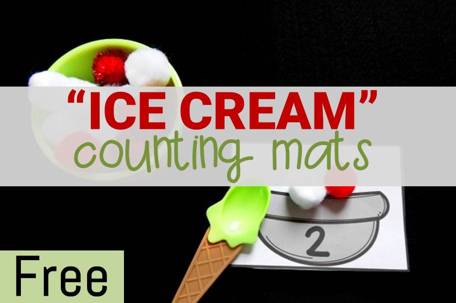 Fun ice cream themed counting mats for kids!