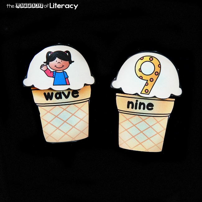 """Make reading long vowel CVCe or """"magic e"""" words fun with these printable ice cream puzzles! Read the words on the cone and match them to their picture"""