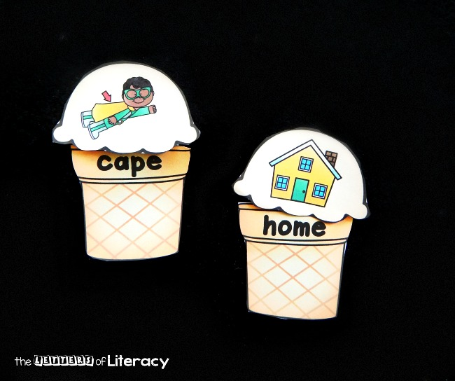 "Make reading long vowel CVCe or ""magic e"" words fun with these printable ice cream puzzles! Read the words on the cone and match them to their picture"