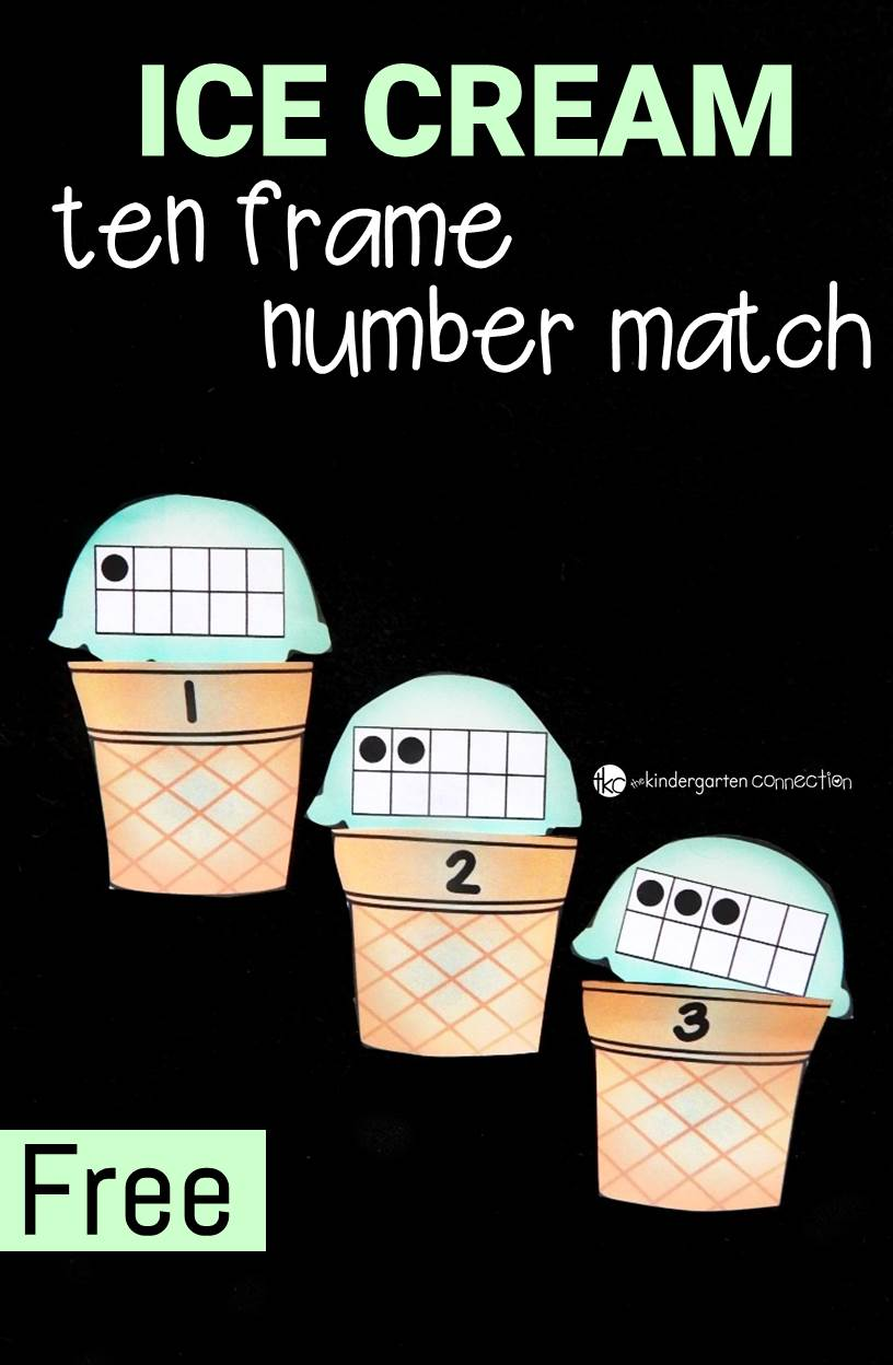 This ice cream ten frame number match is so fun for preschoolers and kindergarteners to work on counting to 10 and subitizing!