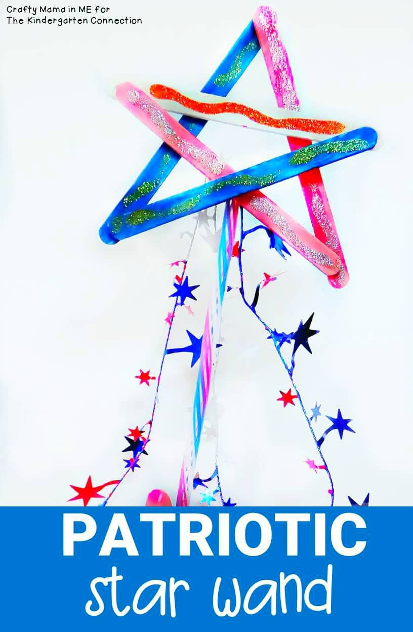 This patriotic star wand is a perfect kids craft for the 4th of July or any patriotic holiday. Kids love decorating them and waving them around!