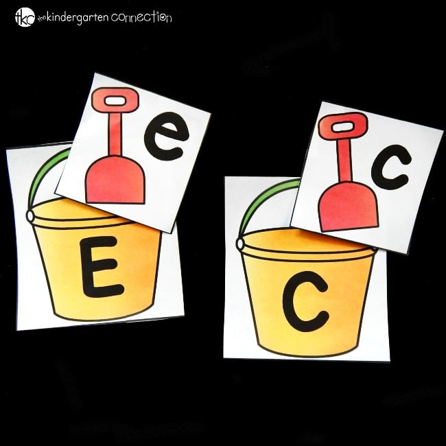 This beach themed alphabet match is a fun game to play with your preschooler or kindergartener! Such a fun way to work on upper and lowercase letters.