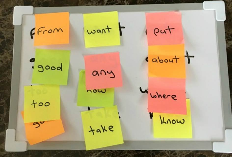 Sticky Note Sight Word Match