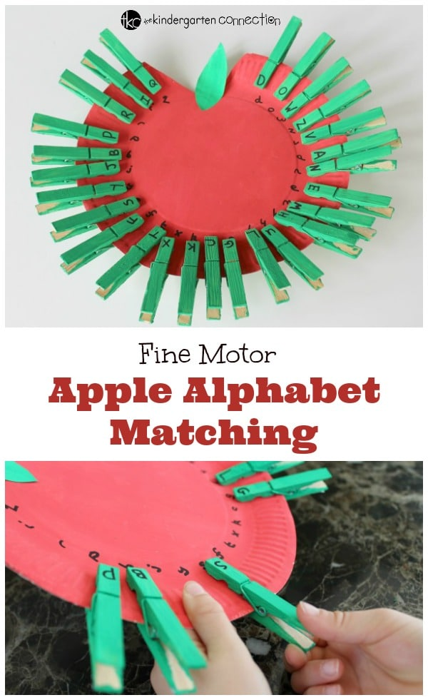 This apple alphabet match is a great fall activity for preschoolers and kindergarteners who are learning their upper and lowercase letters!