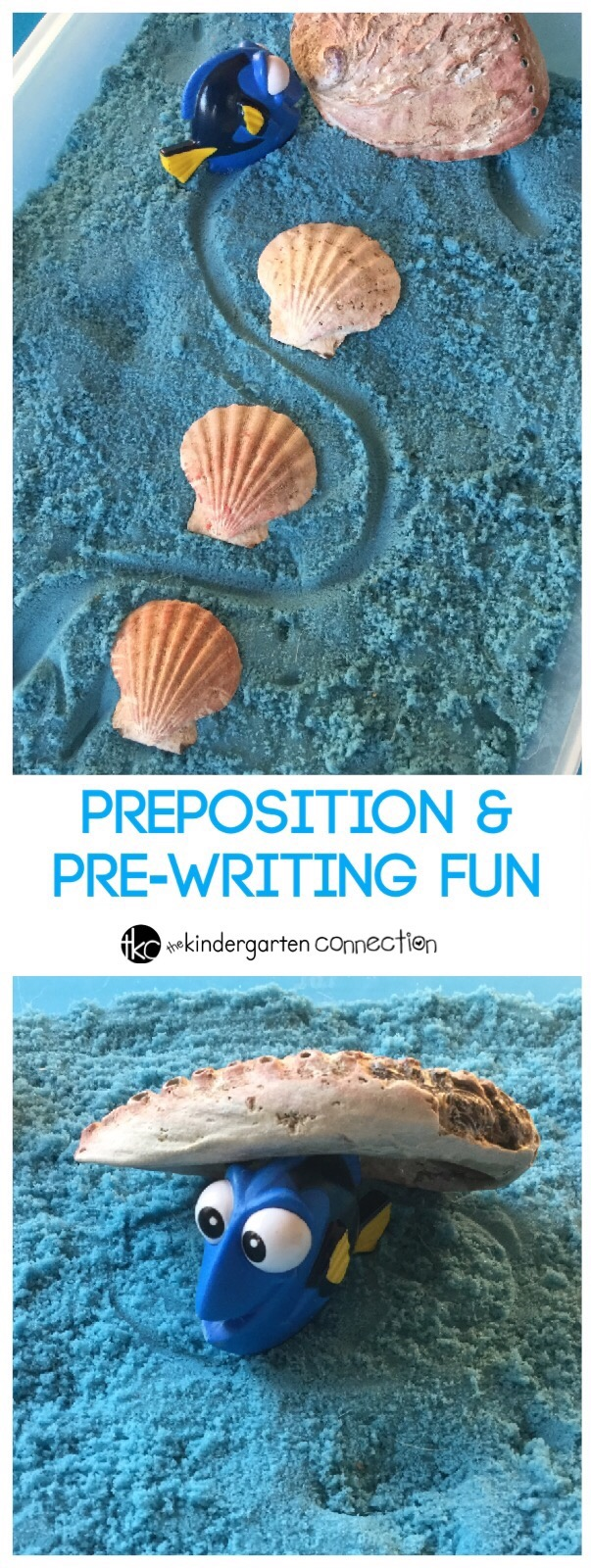 This preposition and prewriting activity is super fun, and even uses favorite toys. Just add a sensory bin for lots of learning fun!