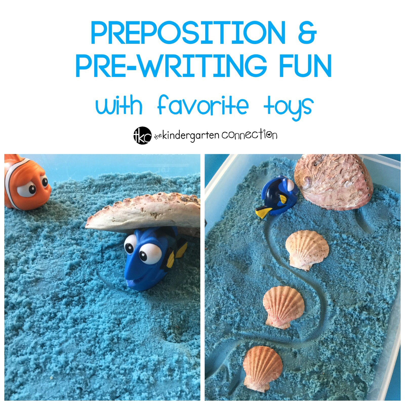 This preposition and pre-writing activity is super fun, and even uses favorite toys. Just add a sensory bin for lots of learning fun!