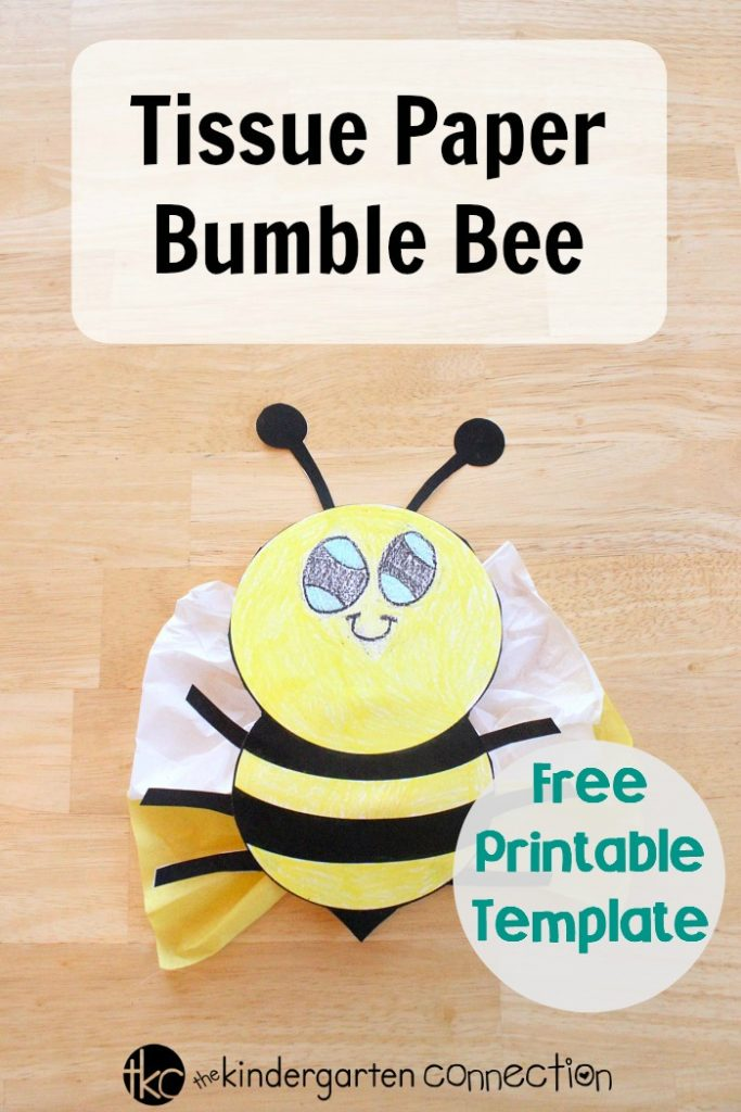 photograph regarding Free Printable Bee Template called Tissue Paper Bumble Bee - The Kindergarten Romantic relationship