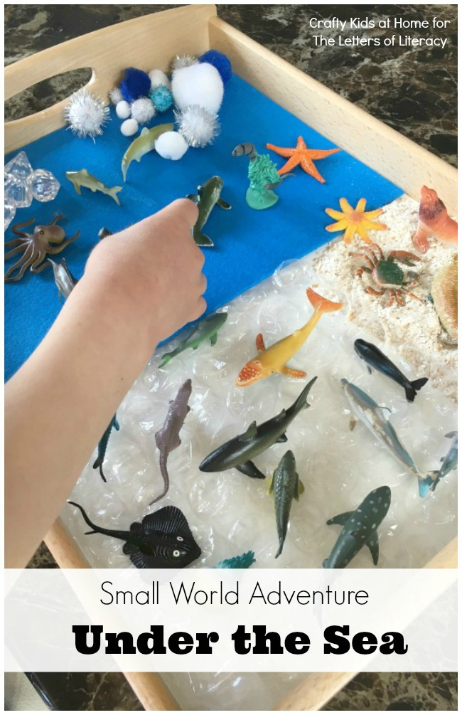 Playing with a small world is the ideal environment to work on early literacy skills together. This under the sea small world is such fun!