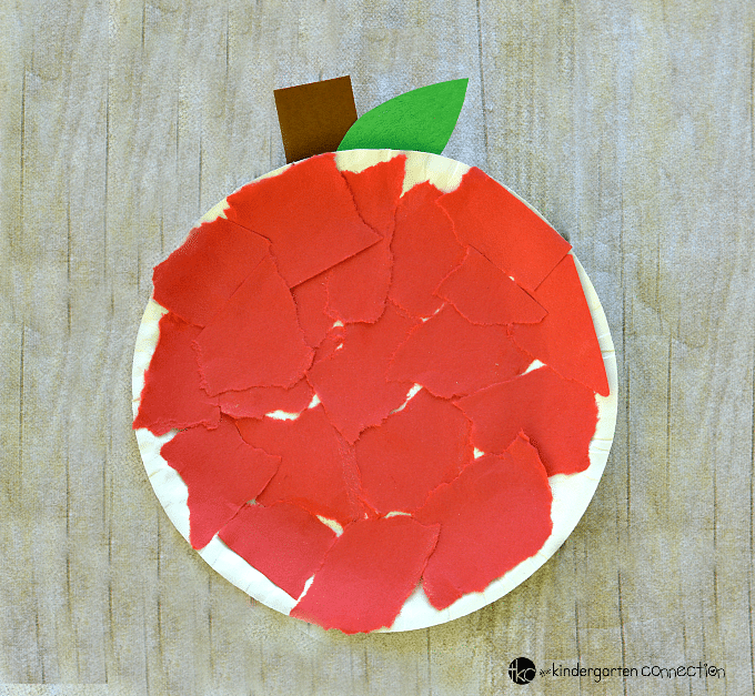 This paper plate apple craft is a fun fall or back to school craft project with very easy to follow directions that works on fine motor skills.