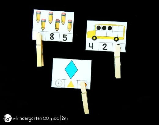These back to school kindergarten clip cards make great math and literacy centers. Work on skill building and fine motor too!