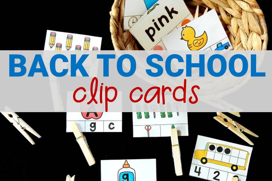 Back to School Kindergarten Clip Cards