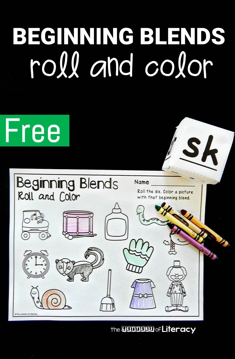 This roll and color beginning blends activity is perfect for kindergarteners and first graders working on early reading skills!