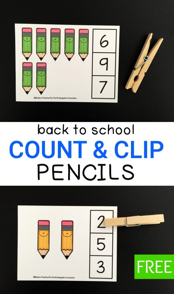 These pencil count and clip cards are perfect for building number sense in preschoolers and kindergarteners. Use them for back to school or anytime!