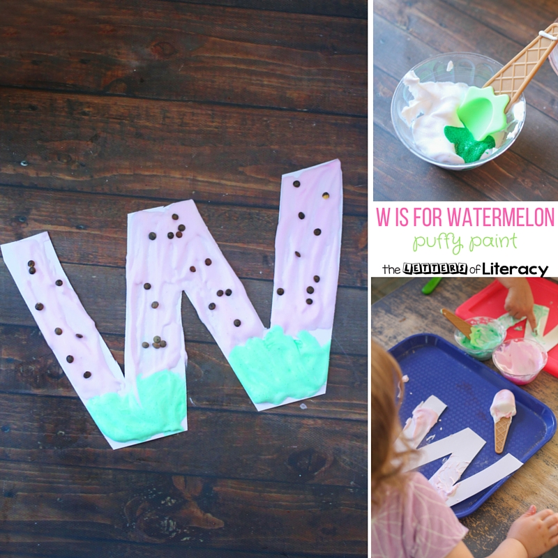 This w is for watermelon letter craft is a fun activity using puffy paint. Great for learning the letter w in a hands on way!