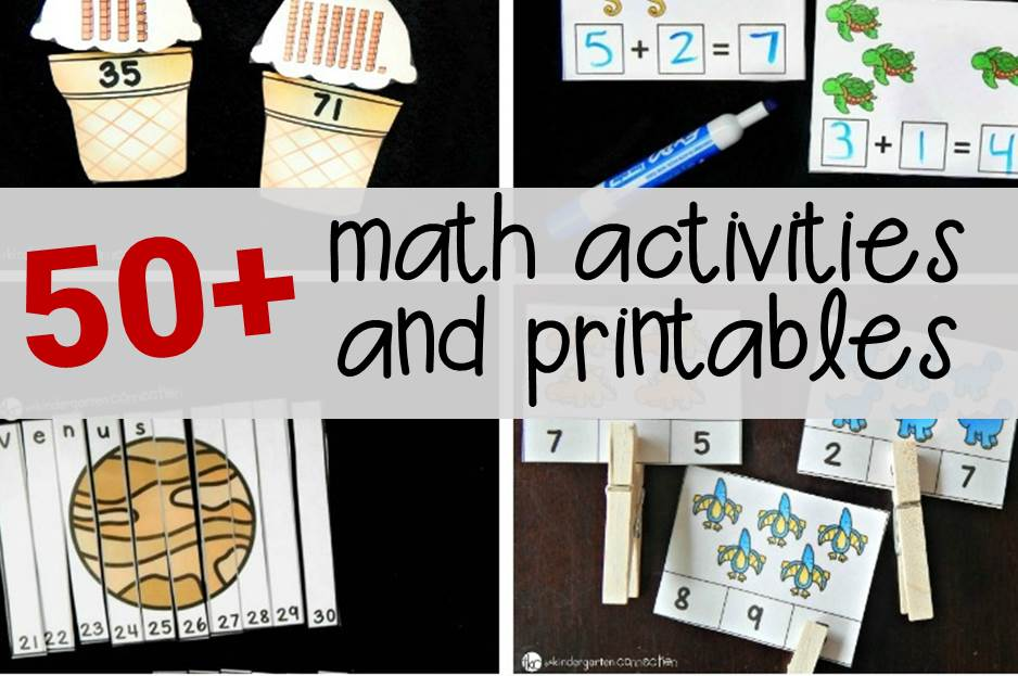 More than 50 fun math activities and printables for Pre-K, Kindergarten, and 1st Grade!