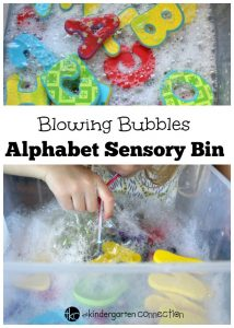 Blowing Bubbles Alphabet Sensory Bin