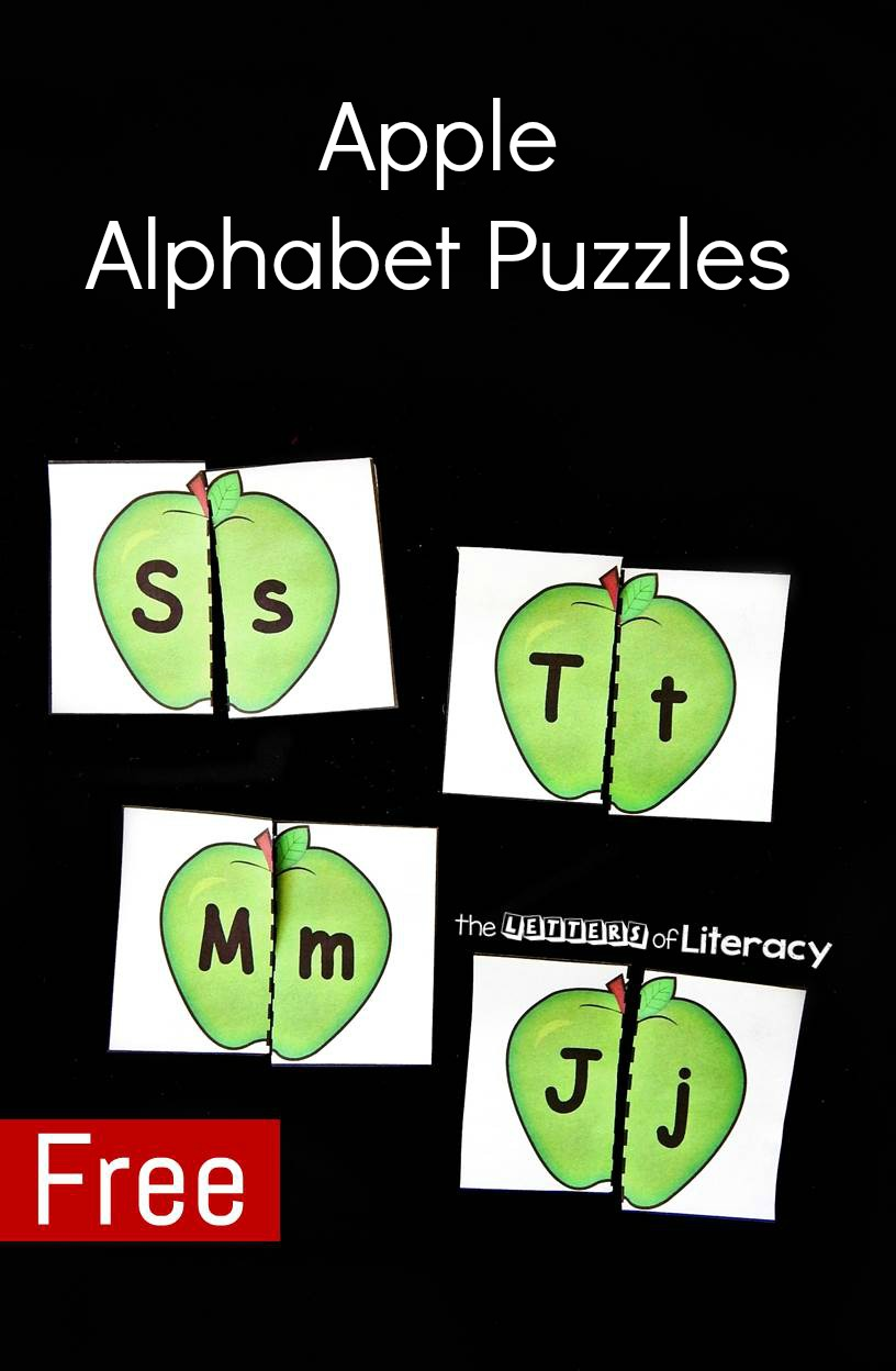 These apple alphabet puzzles are a great literacy center for preschoolers or kindergarteners to practice their ABC's this fall!