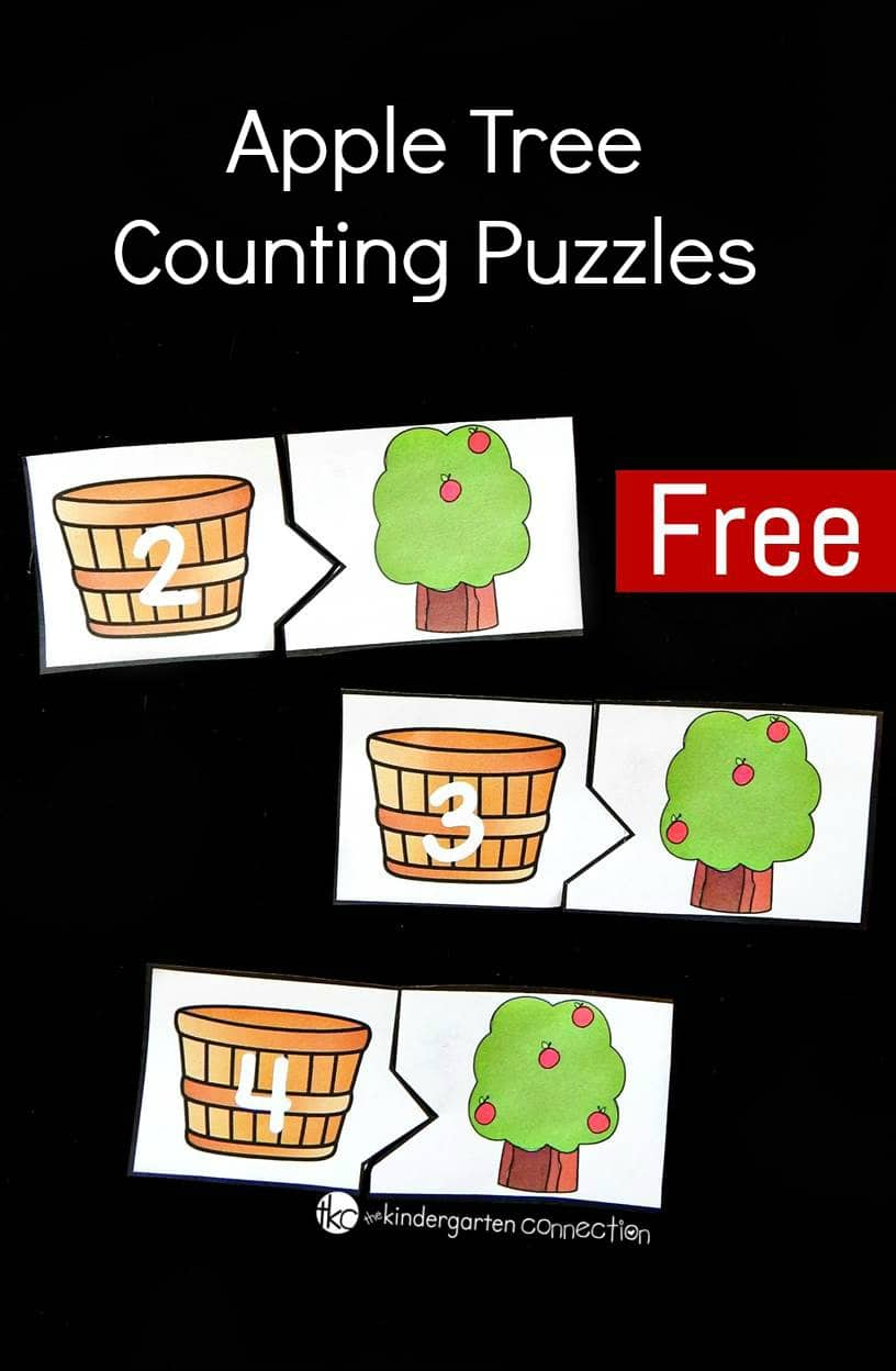 These apple tree counting puzzles are perfect for a back to school, fall, or apple theme with preschoolers or kindergarteners!