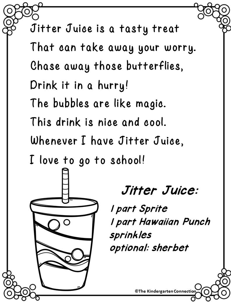 Jitter juice recipe with free printable poem for back to for First day jitters coloring page