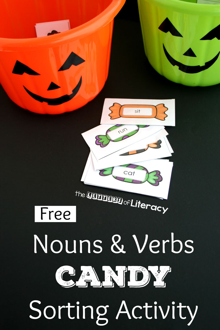 This nouns and verbs candy sorting activity is a perfect Halloween activity for the classroom or home. It's even more fun with trick or treat baskets!