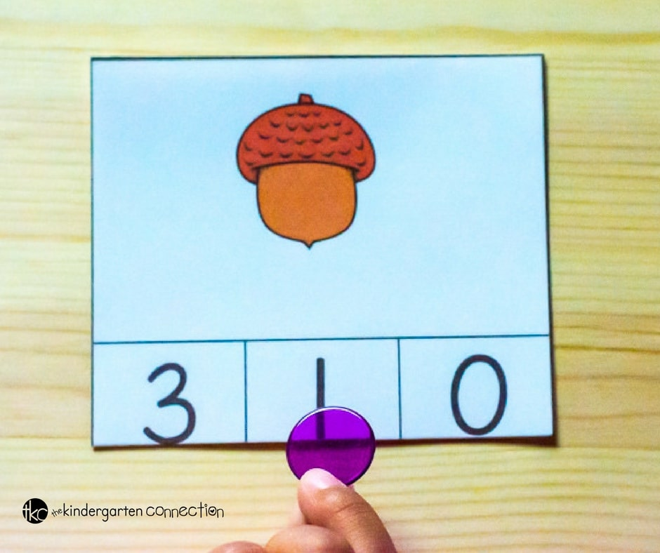 These acorn count and clip cards are perfect for preschoolers and kindergarteners to work on counting to 20 and building fine motor this fall!