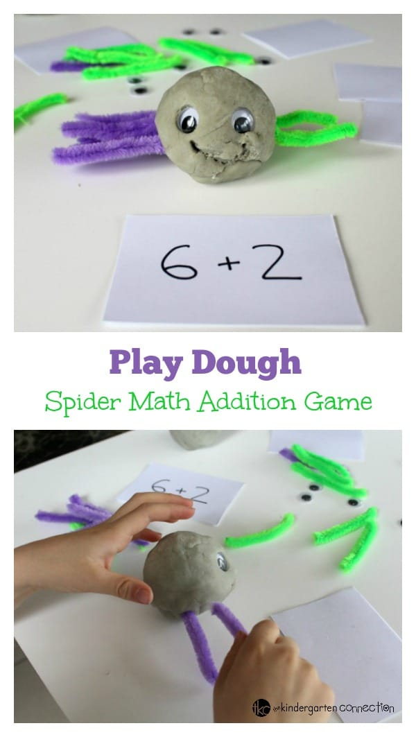 This spider math addition game makes a great math center for pre-k and kindergarten. Fun for Halloween, a spider study, or anytime!