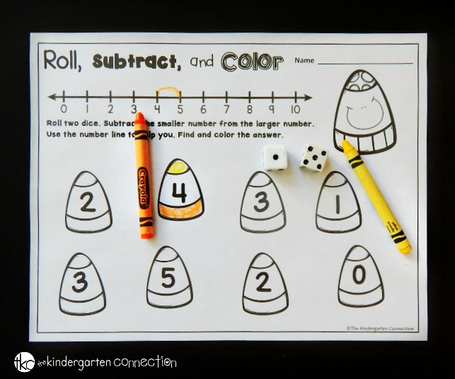 These candy corn roll and color games are so fun for math centers! Great for working on counting, addition, and subtraction too!