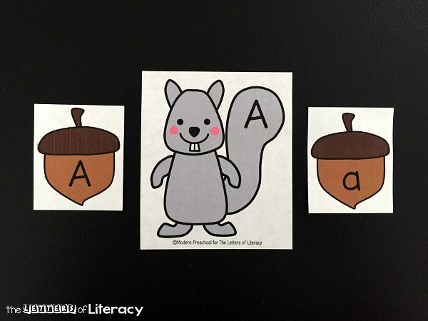 This squirrel and acorn alphabet match is a great activity for preschoolers and kindergarteners to practice upper and lowercase letters this fall!