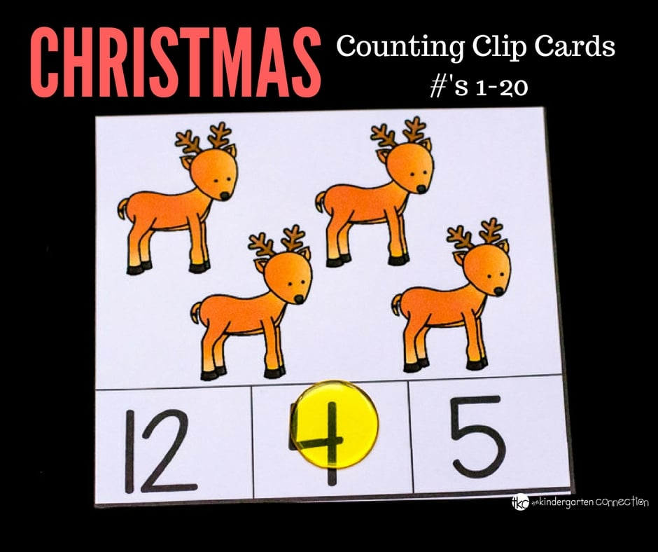 These free Christmas counting clip cards are great for fine motor skills and number recognition to 20! Add them to your math centers for some holiday fun!