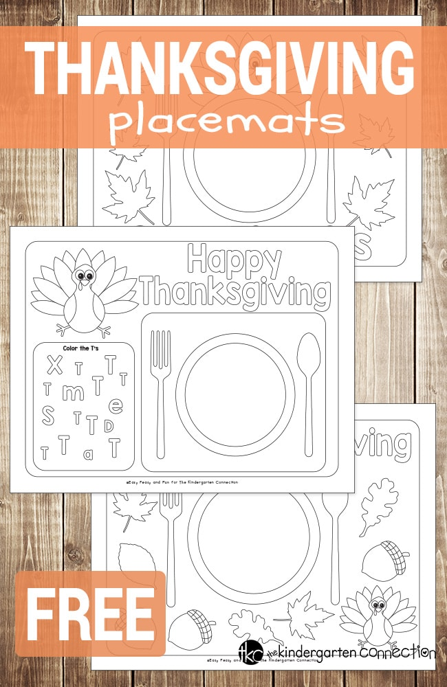 Fun Printable Thanksgiving Placemats: If you want to make the Thanksgiving meal a little bit special in your kindergarten class or at home, print out these FREE Thanksgiving placemats to color.
