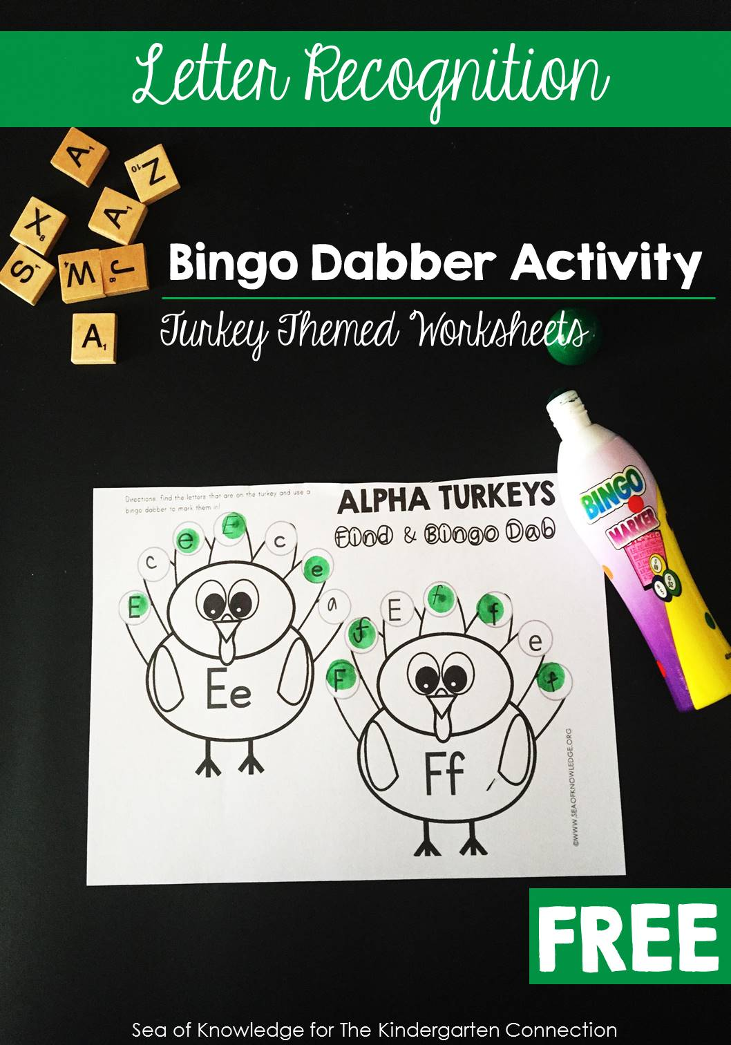 Build letter recognition skills while having tons of fun with this free printable turkey letter recognition activity! Perfect for fall or thanksgiving.