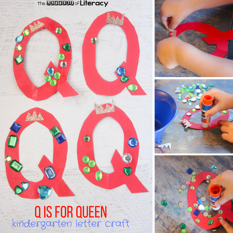 Naturally, a K is for King Letter Craft needs his Q is for Queen Letter Craft for our Letter Q craft. They make quite the majestic pair in our Kindergarten Letter Crafts series!