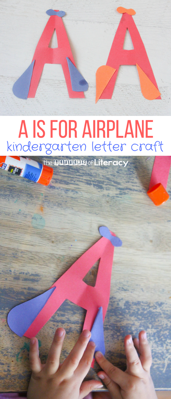 With these letter craft activities, I wanted to provide a long vowel letter A craft with our A is for Airplane kindergarten letter craft.