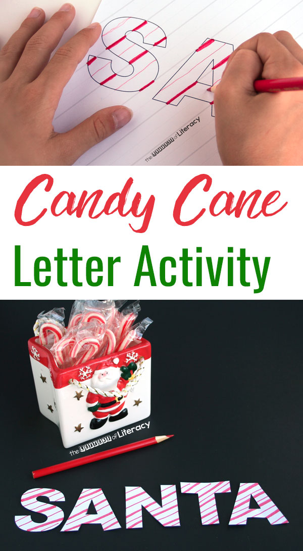 This candy cane letter activity is great for a Christmas writing activity. Use this activity to develop fine motor skills, patterning and letter recognition