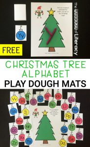 This holiday season, use engaging Christmas printable activities like our free Christmas Alphabet Play Dough Mats activity.