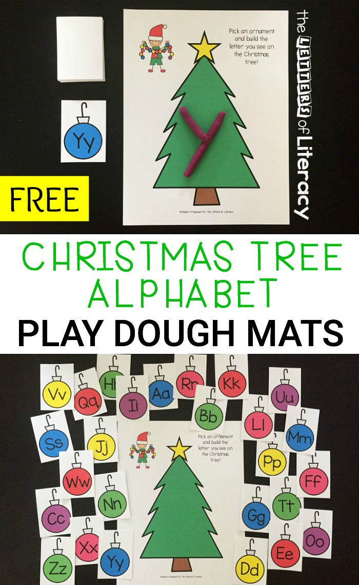 This holiday season, use engaging Christmas printable activities like our free Christmas Alphabet Play Dough Mats activity.