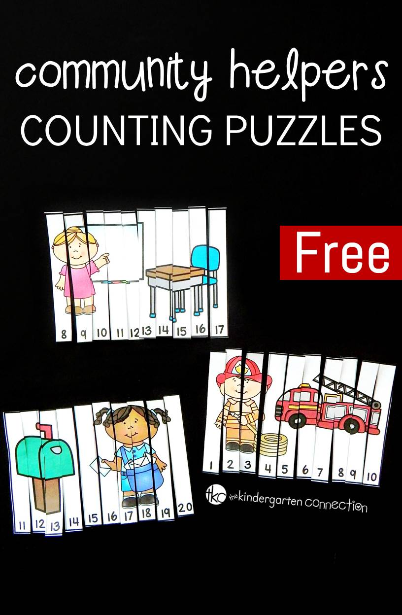 Work on number identification and counting to 20 with these fun and free community helpers counting puzzles! They make a great kindergarten math center.