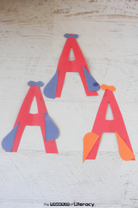 With these letter craft activities, I wanted to create a long vowel letter A craft with our A is for Airplane kindergarten letter craft.