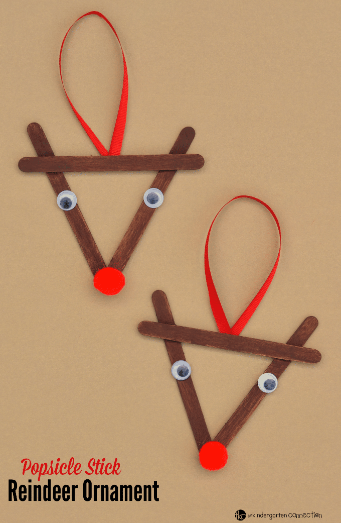 Lollipop Stick Christmas Decorations.Popsicle Stick Reindeer Kid Christmas Ornament