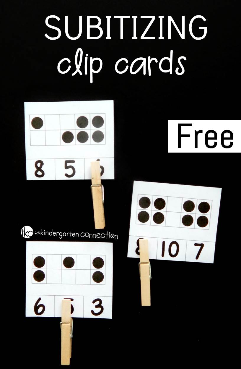 Build subitizing skills and number sense in your Pre-K or Kindergarten students with these fun and free printable subitizing clip cards!