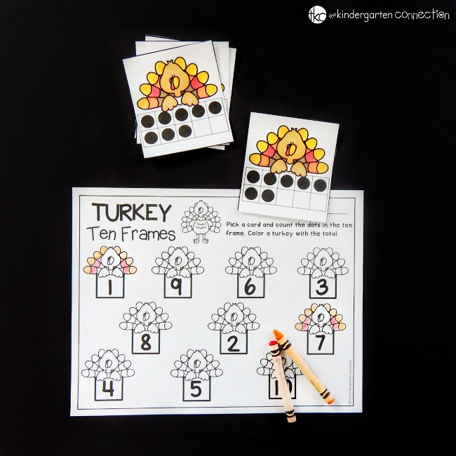 This turkey themed ten frame math game is a perfect math center for kids this fall or Thanksgiving! Work on counting, subitizing, and number recognition.