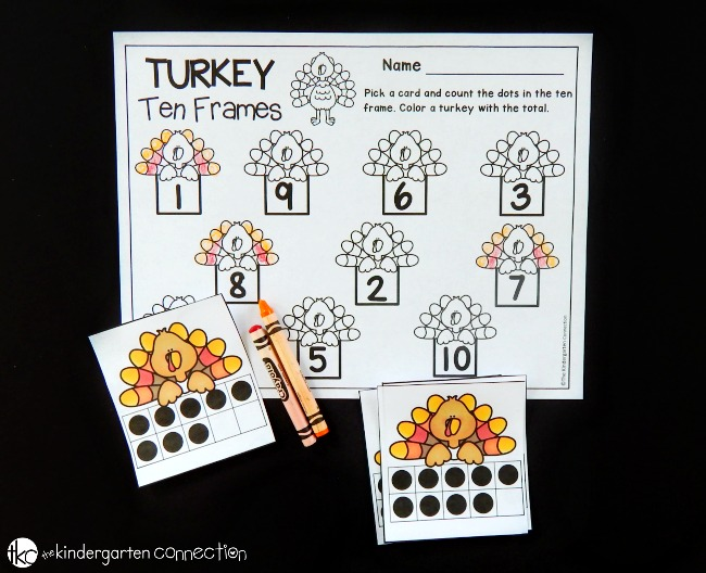 This free turkey themed ten frame math game is a perfect math center for kids this fall or Thanksgiving! Work on counting, subitizing, and number recognition.