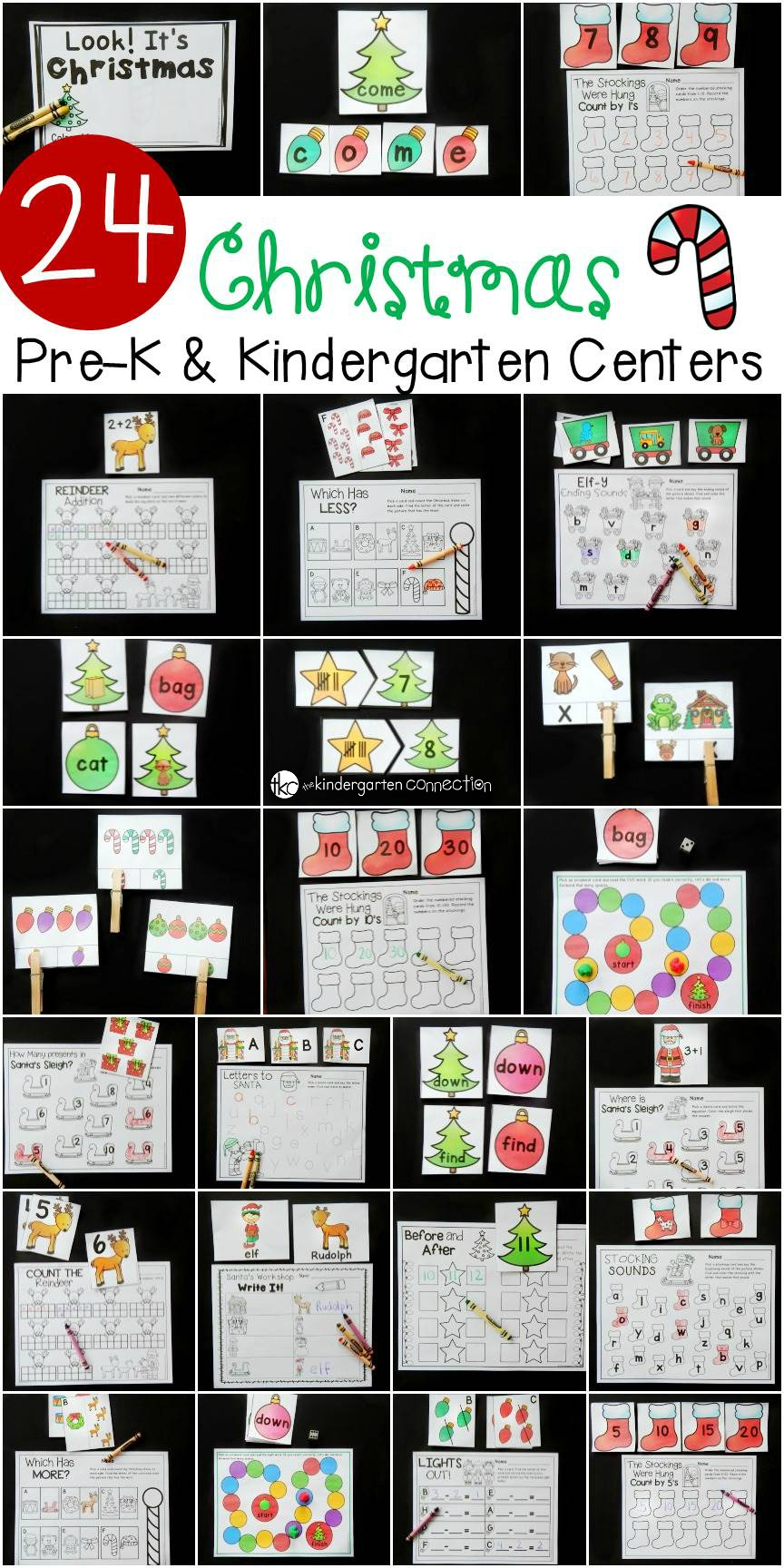 These Christmas Math and Literacy Centers for pre-k and kindergarten are so fun for learning letters, sight words, addition, subtraction, and more!
