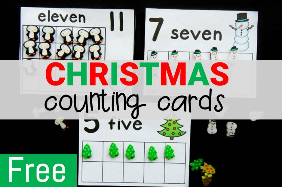 Christmas Eraser Counting Cards
