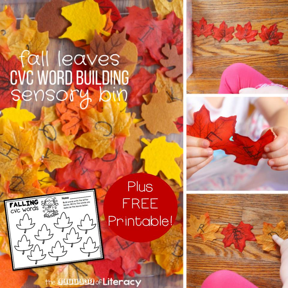 FREE Printable CVC Fall Leaves Sensory Bin Activity