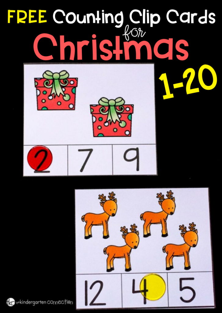 FREE Counting Clip Cards for Christmas. This printable set highlights numbers 1-20 so it makes this perfect for preschoolers, pre-k, or Kindergarteners. #christmasactivity #clipcards #freeprintables #elementarymath