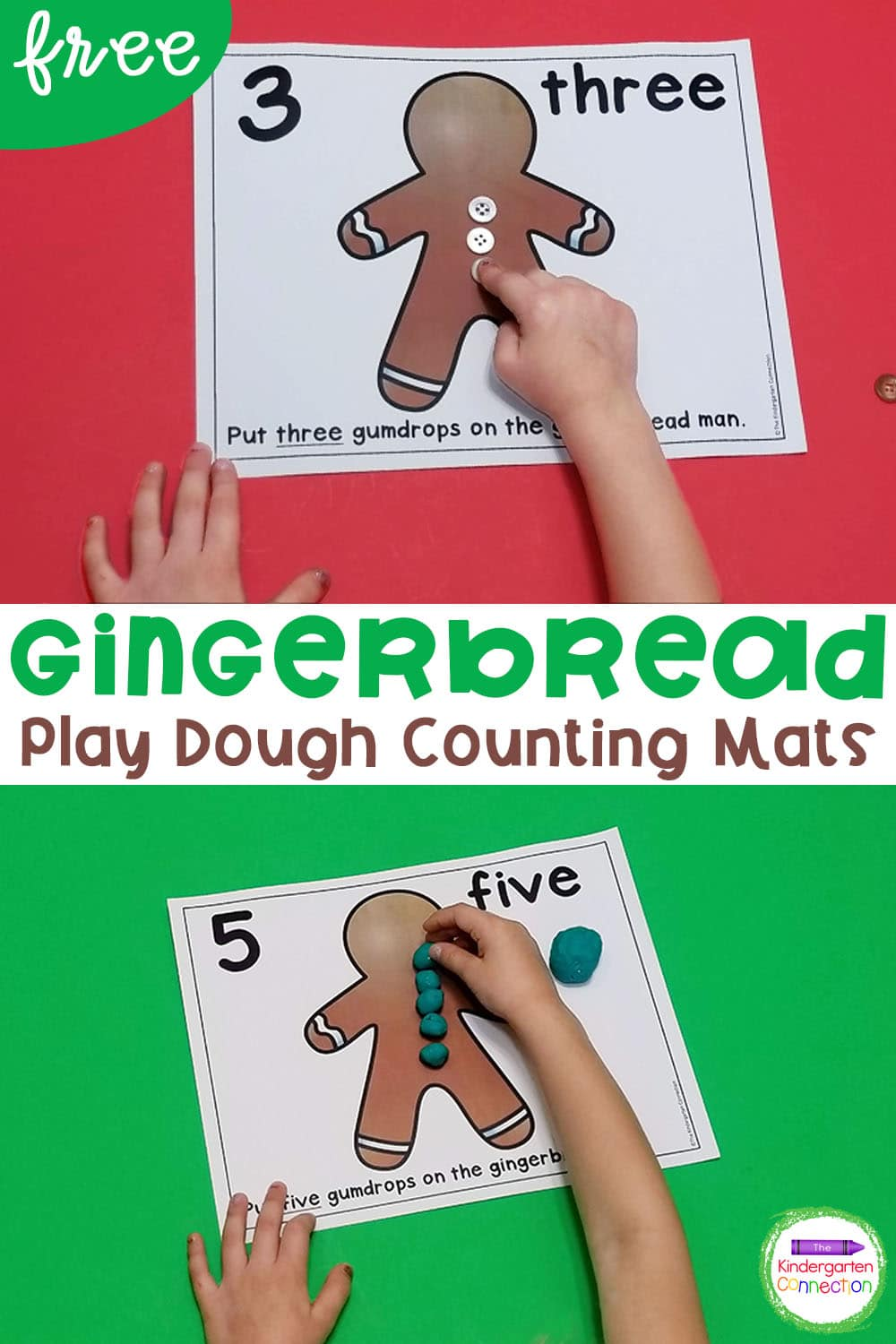 These free Gingerbread Counting Play Dough Mats are a fun holiday activity for Pre-K & Kindergarten! Work on both counting and fine motor skills!