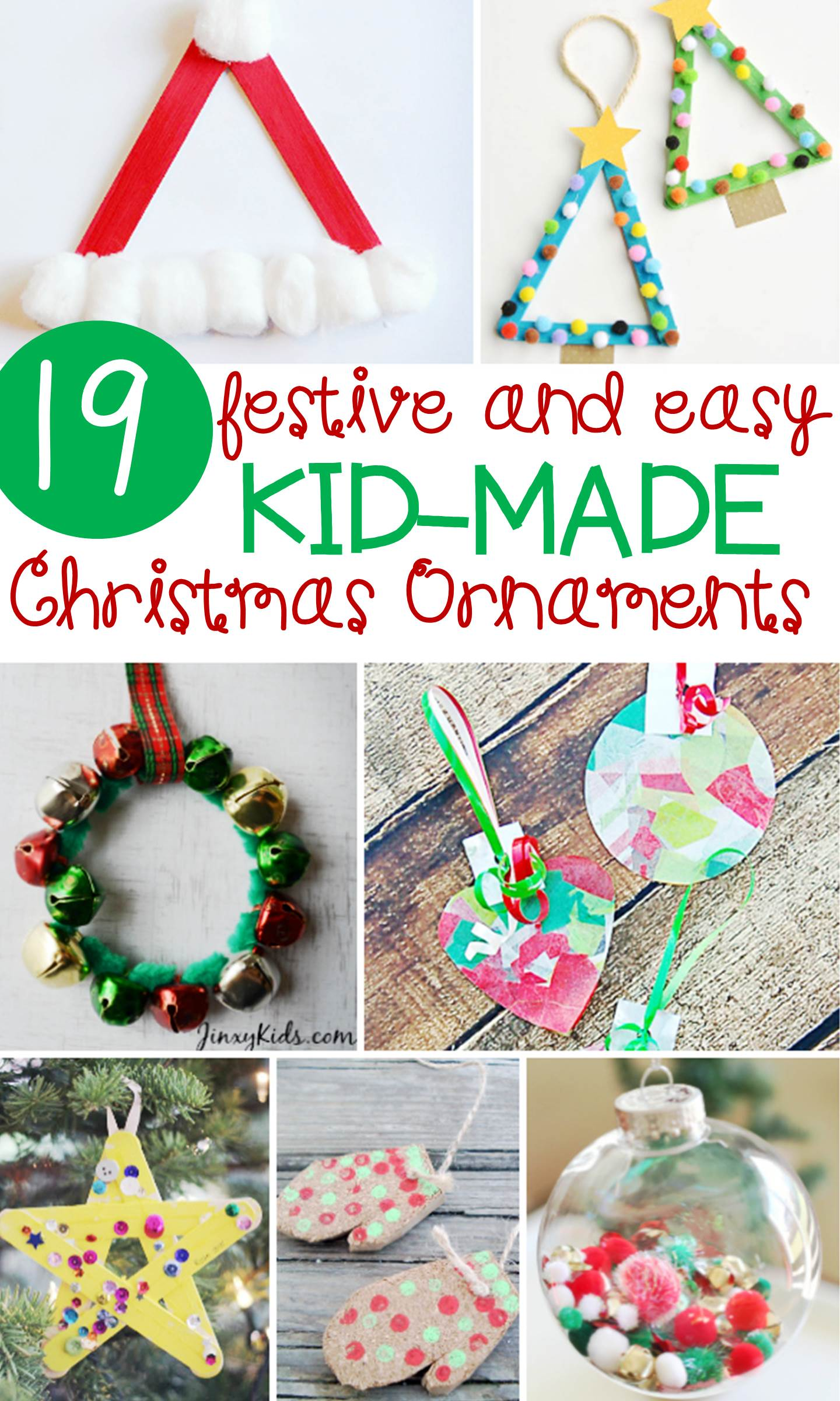 These 19 festive and easy Kids' Christmas ornaments are sure to give you some ideas for what you would like to make with your kids this year!