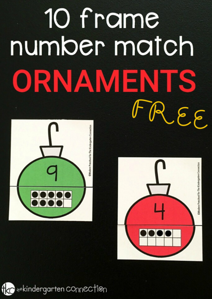 Ornament Ten Frame Number Match Free Printable. A fun way to practice counting to 10 and learning 1:1 Correspondence. #kindergartenmath #christmas #counting #freeprintable