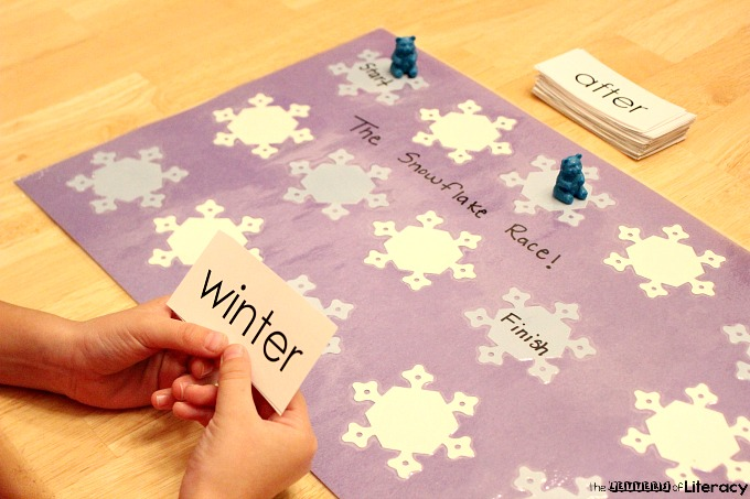 DIY Snowflake Race Game, reading skills practice, literacy game, letters/sounds, memory words, high frequency words